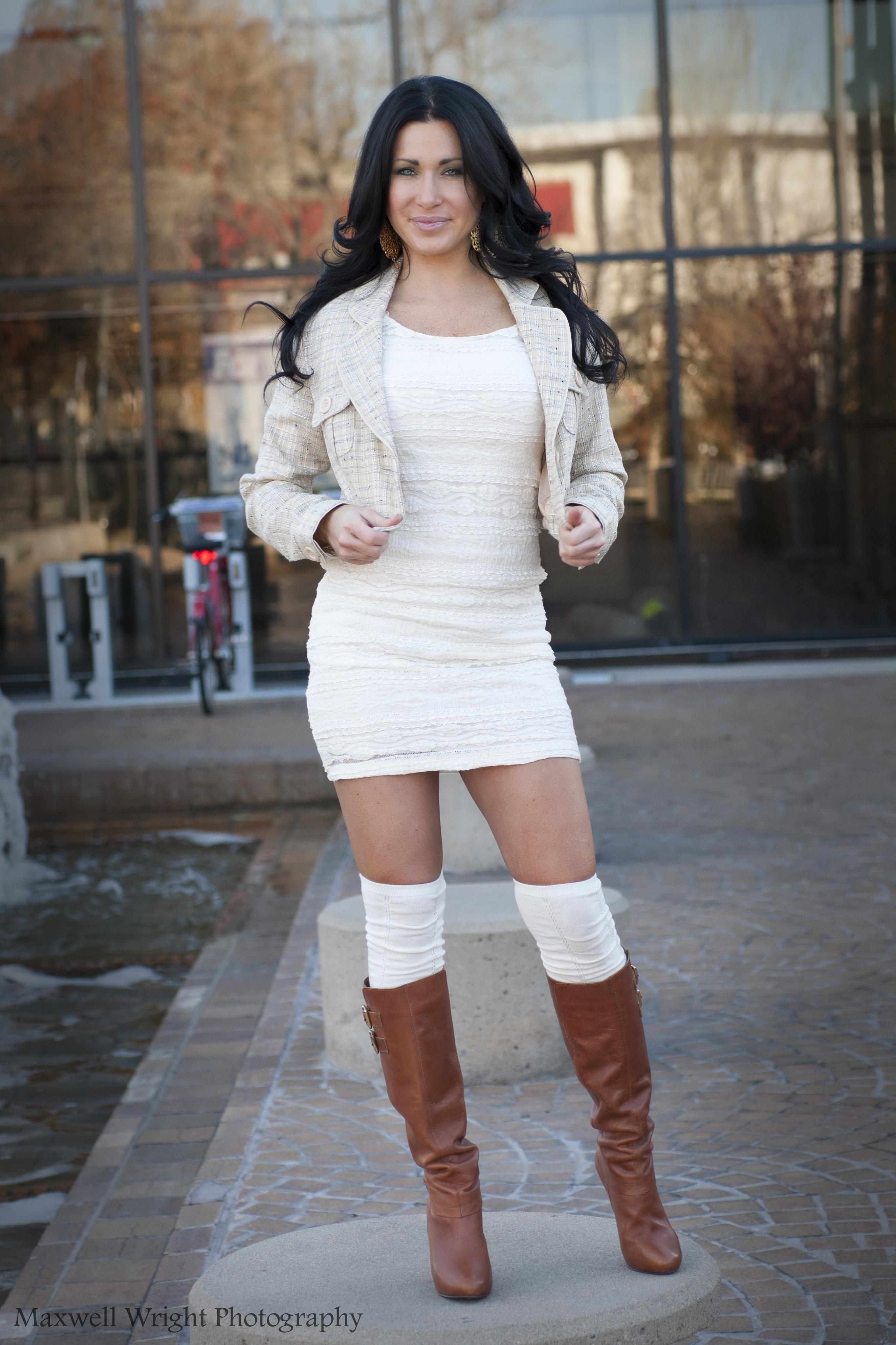 Cropped Jacket, Boots & Knee Socks